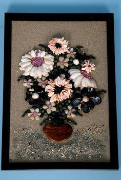 Картина от морски камъчета, миди и морски пясък   Ръчна изработка