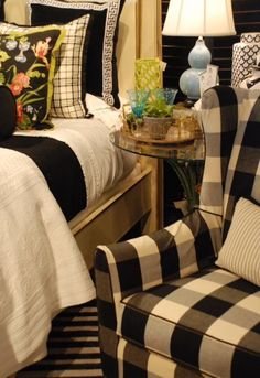 Check marks the spot! This black and white checked chair makes the perfect seat.