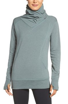 Free shipping and returns on Zella 'Frosty' Asymmetrical Zip Pullover at Nordstrom.com. A tall drapey neck coupled with an asymmetrical zip provides adjustable warmth for this soft cotton-blend pullover styled in a longer length with figure-flattering contoured seams.