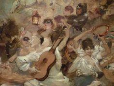 WILLETTE Adolphe,1884 - Parce Domine - Detail 034 : Français : Pierrot chantant et jouant de la guitare au milieu de la foule en fête.  English: - Pierrot singing and playing guitare, in the middle of the festive crowd. - Montmartre -
