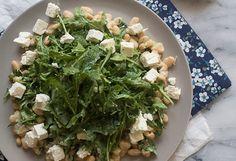 arugula cannelloni and feta salad with creamy avocado dressing