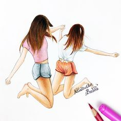 illustration, jump, BFF, colours, drawings, pijama party, lovely, friends