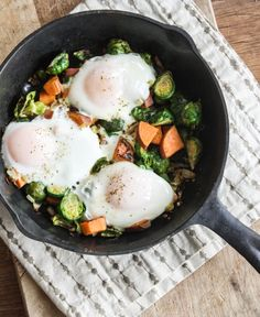 Brussels Sprout and Sweet Potato Egg Skillet