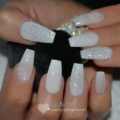 Acrylic Nails Coffin Short, Summer Acrylic Nails, Best Acrylic Nails, White Nails With Glitter, Turquoise Acrylic Nails, Summer Nails, White Acrylic Nails With Glitter, Wedding Acrylic Nails, White Coffin Nails
