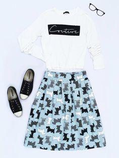 Dog lover midi skirt