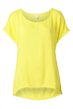 Petite cotton baubles line the edging of the Pom Pom Insert Tee. An easy-wear oversized silhouette with a high- low neckline, simply throw over bathers with denim shorts. Yellow Tees, Easy Wear, Dear Santa, Summer Colors, High Low, Denim Shorts, Cute, Cotton, T Shirt