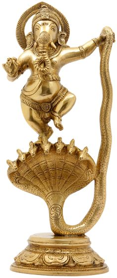 Lord Ganesha Dancing on Seven-Hooded Serpent