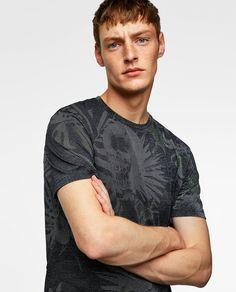 T-SHIRT COM BRILHO - Disponível em mais cores Zara, Polo Shirt, T Shirt, Mens Tops, Fashion, Glow, Men, Block Prints, T Shirts