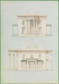 House for Henry Whitney, New Haven, Connecticut (front and side elevations) Alexander Jackson Davis (American, New York 1803–1892 West Orange, New Jersey, ca. 1835