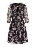 Rochie vaporoasa de culoare neagra cu imprimeu floral  Yumi