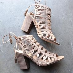 sbicca - geovana women cage sandal in tan - shophearts