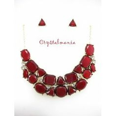 Set de collar y aretes en tono rojo quemado estilo 3040