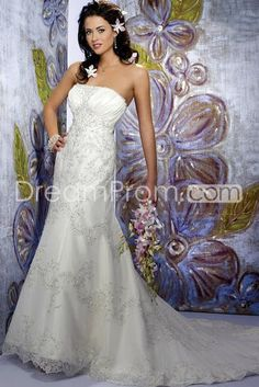 US $249.99 Free Shipping Gorgeous Empire Strapless Floor-length Chapel Appliques Organza Wedding Dresses (3AD0159)