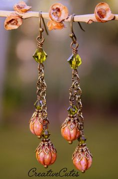 Your place to buy and sell all things handmade Swarovski Crystal Earrings, Dangle Earrings, Simple Earrings, Leaf Earrings, Earrings Handmade, Handmade Jewelry, Diy Jewelry, Beaded Jewelry, Fall Jewelry