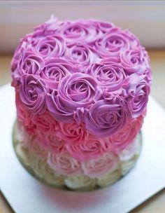 Pink flowers cake #pie #dessert