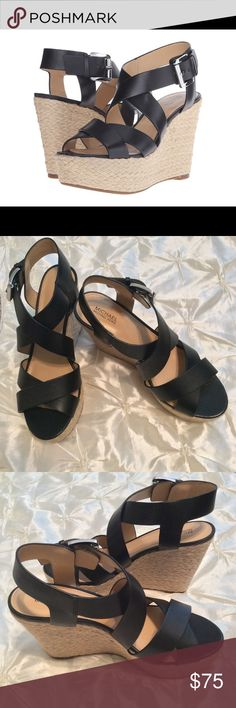 """MICHAEL KORS Celia Black Leather Wedge Sandals Chic wedge sandal shaped by smooth leather straps. Leather upper and lining. Rubber sole. Adjustable ankle strap. 5"""" heels 2"""" platform. Smooth and comfortable wear. An easy match for most colors! 🎉👌🏻👍🏻 MICHAEL Michael Kors Shoes Wedges"""