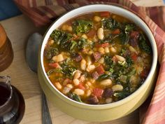 Spanish Chorizo, Kale and Cranberry Bean Soup with Oven-Dried Tomato-Garlic Toast