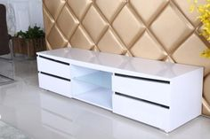 Leona High Gloss White TV Unit