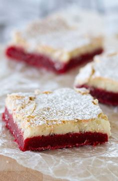 Ooey Gooey Red Velvet Butter Bars #recipe