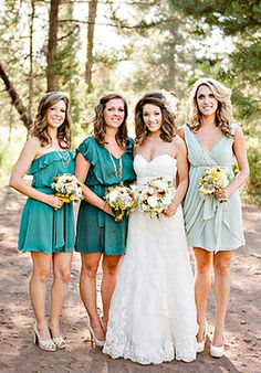 Mismatched Bridesmaids Greens