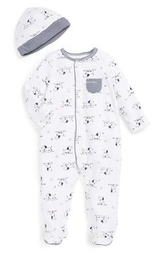 Free shipping and returns on Little Me 'Puppy' One-Piece & Hat (Baby Boys) at Nordstrom.com. A playful puppy print and striped chest pocket detail an adorable one-piece paired with a coordinating beanie to keep your little one's head cozy and warm.