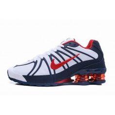 best service 67f93 9a047 Hommes Chaussure Nike Shox Blanc Rouge Indigo  NikeShox