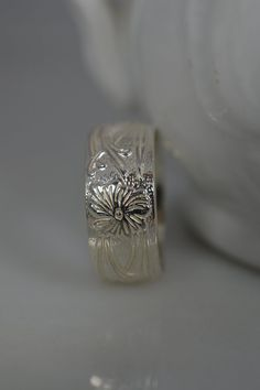 Wide Sterling Silver Floral Pattern Ring by ArbotiqueDesigns