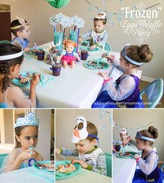 Frozen themed Waffle Party with FREE PRINTABLES via Kara's Party Ideas | Cake, decor, cupcakes, games and more! KarasPartyIdeas.com