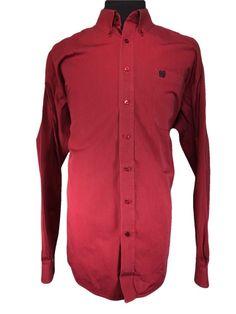 Cinch Casual Long Sleeve Shirt Mens XL Western Burgundy Blue Pinstripe Cotton #Cinch #Western