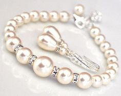 Pearl Bridal Jewelry SET, Bridal Wedding Jewellery, Bracelet and Earrings SET, Pearl Jewelry