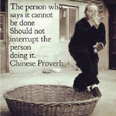 """""""The person who says it cannot be done, should not interrupt the person doing it."""" Chinese proverb 