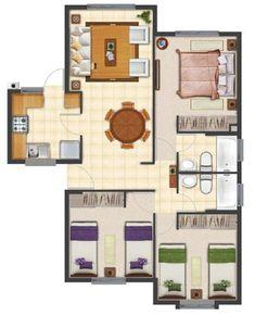 Nuevo Plano de casa proyecto de 63 m2 #cocinasmodernasideas Little House Plans, My House Plans, Small House Plans, House Floor Plans, House Layout Plans, House Layouts, Bungalow House Design, Small House Design, Home Design Plans