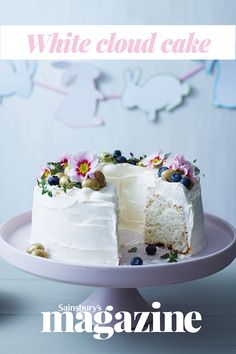 Perfect for Easter, this cloud cake – a classic American ring cake, known as an angel cake in the UK – smothered in soft lemon-flavoured cream, is as light as a cloud, hence its name. A special ring pan isn't essential
