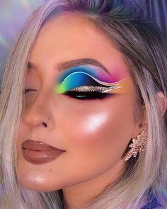 Dope Makeup, Makeup Eye Looks, Eye Makeup Art, Crazy Makeup, Glam Makeup, Pretty Makeup, Makeup Cosmetics, Bright Eye Makeup, Colorful Eye Makeup