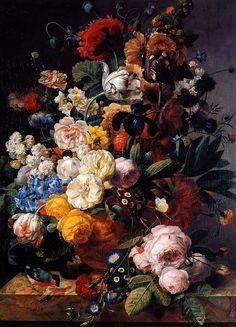 Bouquet of Flowers in a Sculpted Vase by Jan Frans Eliaerts - Canvas Art Print Rococo Painting, Oil Painting Flowers, Oil Painting Reproductions, Diy Painting, Art Floral, Museum Of Fine Arts, Diy Canvas, Flower Vases, Lovers Art