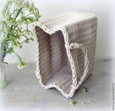 """Купить Ваза """"Мятый пакет"""". - белый, ваза, плетеная ваза, оригинальная ваза, ваза для цветов"""