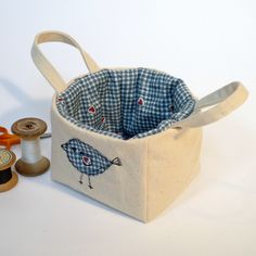 Fabric Basket - with applique freemotion bird