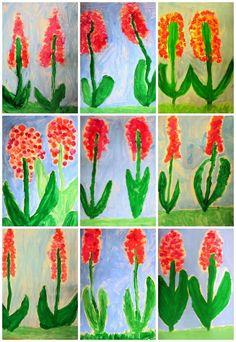 Plastiquem- hyacinths: Class Art Projects, Spring Art Projects, Drawing Projects, Spring Crafts, Toddler Crafts, Crafts For Kids, Arts And Crafts, Art Substitute Plans, Flower Crafts
