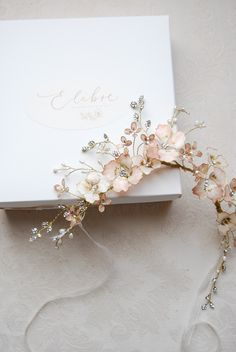 A truly statement hair crown richful adorned of blush pink flowers, intricately beaded crystal leaves and pearl sprays. A show stopping feminine piece of jewelry where refined details and subtle el. Crystal Beads, Swarovski Crystals, Hair Crown, Hand Flowers, Organza Ribbon, Crown Hairstyles, Hair Vine, Bridal Looks, Sprays