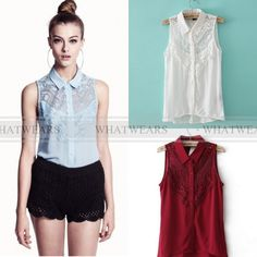 Free Shipping 2014 Spring Womens Sexy Chiffon Sleeveless Hollow Lace Splice Shirts Tops Blouse [70-2402] 182 US $9.77