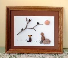 """Original marco guijarro arte cuadro """"muchacho y perro en el descansan"""" lago Michigan playa guijarros, niño, perro, aves"""