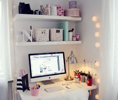 Rooms Idea. Room. Home Office. Ideas for #homeoffice Design. Decoration. Cute! Lights. iMac.