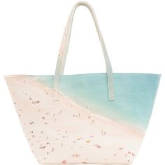 Paige Gamble Light Beach Digital Printed Pebbled Leather Tote (£405) ❤ liked on Polyvore featuring bags, handbags, tote bags, prints, white purse, carryall tote, print tote, white tote and tote handbags