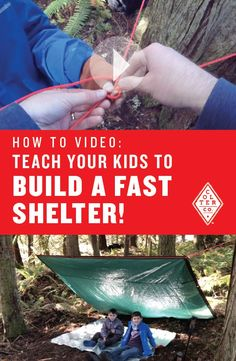 Teach your kids how to build an easy lean to shelter, fast! It only takes two knots and a tarp. This video show how to tie these two essential knots and an easy way to attach a tarp to the line. Perfect skill to learn for any adventurer, young or old.