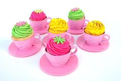 6 Pink Reusable Silicone Decorative Cupcake Liners for Baking Cupcakes, Muffins, Dessert Cups For Frozen Treats, Mousse, Candy, and Pudding. For a Princess Tea Party, Girls Birthday Parties. * More info could be found at the image url.