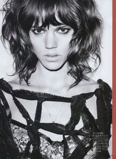 I like how messy Freja's bangs tend to be. Mine used to do this. Freja Beha Erichsen by Terry Richardson for Vogue Nippon Terry Richardson, Wavy Hair, New Hair, Wavy Bangs, Blunt Bangs, Messy Hair, Melena Bob, Medium Hair Styles, Curly Hair Styles