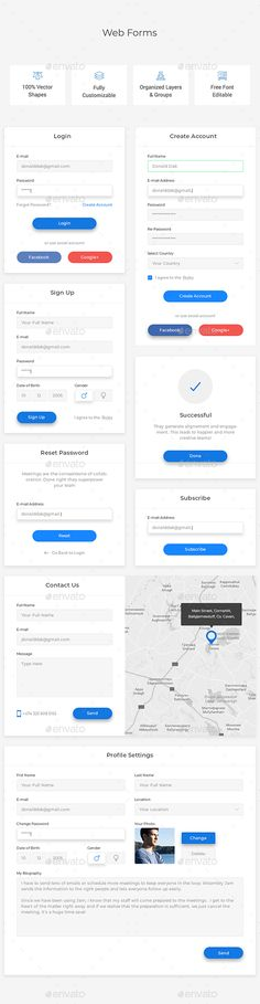 Web Forms PSD File is fully layered and can easily be edited Shapes are vectors Colors and shapes can be changed without any loss of quality Note: images not included in psd file Web Forms, Getting Things Done, Web Design, Graphic Design, Shapes, Templates, Headers, Modern, Ui Ux