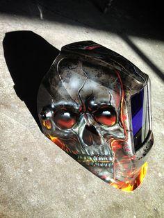 Custom Painted Lincoln Electric Welding Helmet - Painted by Mike Lavallee of… Welding Trucks, Welding Gear, Laser Welding, Welding Equipment, Welding Projects, Welding Rigs, Diy Welding, Welding Supplies, Metal Welding