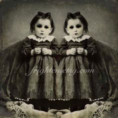 Creepy Halloween Art, Black and White, Twin Art, Halloween Decor, Gothic Art Print, Mixed Media, frighten by frighten on Etsy https://www.etsy.com/listing/199355730/creepy-halloween-art-black-and-white