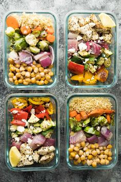 Prep these chickpea buddha bowls and Greek chicken wraps all at the same time for some variety in your meal prep lunches! Both ready in under 45 minutes.